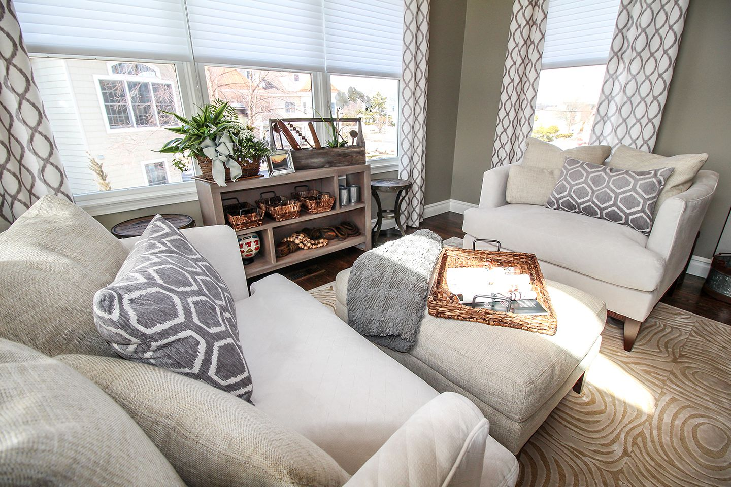 oversized upholstered chairs with transitional accessories